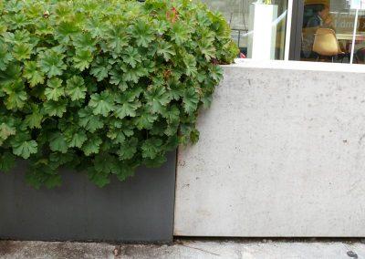 Monolithische Sitzblöcke und Pflanztröge