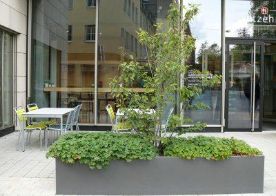 Pflanztröge vor der Sparkasse in Nürnberg